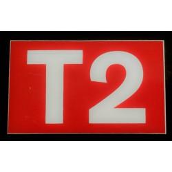 T2 rouge et blanc 6 x 10 cm
