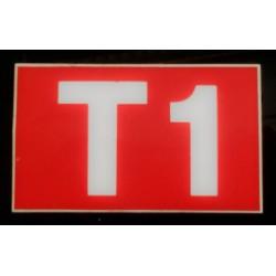 T1 rouge et blanc 6 x 10 cm