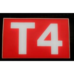 T4 rouge et blanc 6 x 10 cm